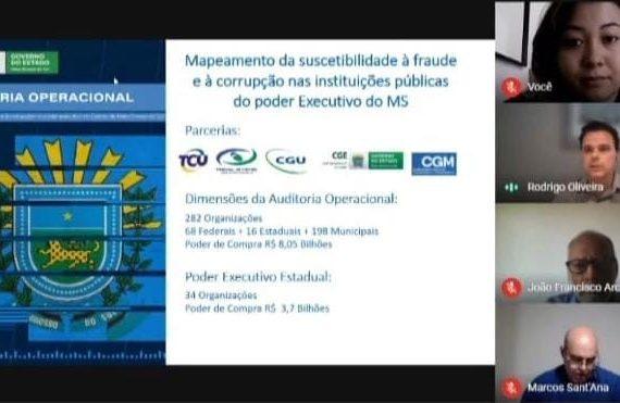 imagem de 4 pessoas no webinar: mapeamento da suscetibilidade à fraude e à corrupção nas instituições públicas do poder executivo do MS.